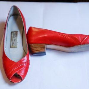 Vintage Sesto Meucci Red Peep Toe Block Heels
